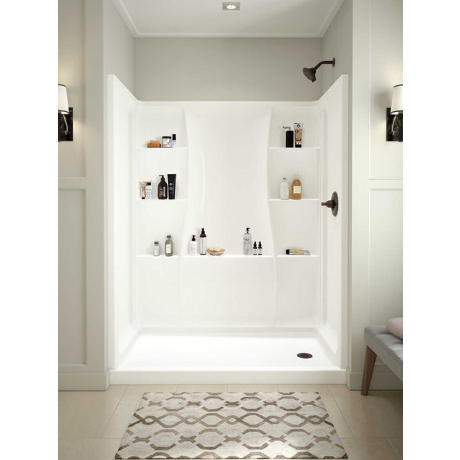 Delta Bathing System  74 in. H x 60 in. W x 32 in. L White  Rectangle  Acrylic  Shower Wall Set