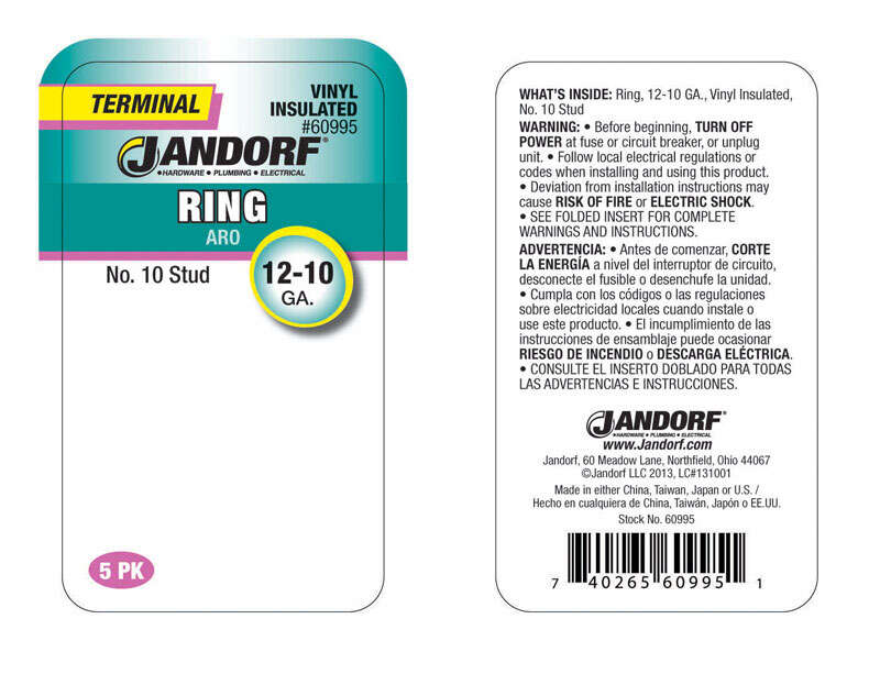 Jandorf  12-10 Ga. Insulated Wire  5 pk Terminal Ring