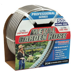 Swan Metal Garden Hose 1/2 in. Dia. x 50 ft. L Heavy-Duty Silver Stainless Steel Garden Hose