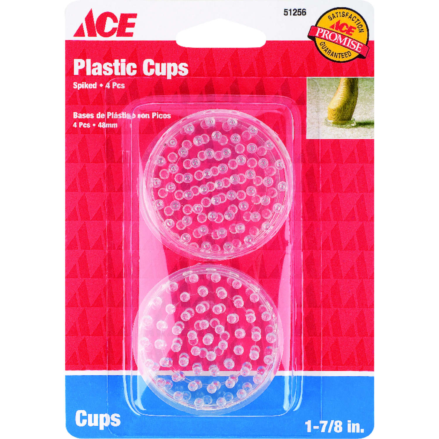 Ace  Plastic  Spiked Caster Cup  Clear  Round  1-7/8 in. W 4 pk