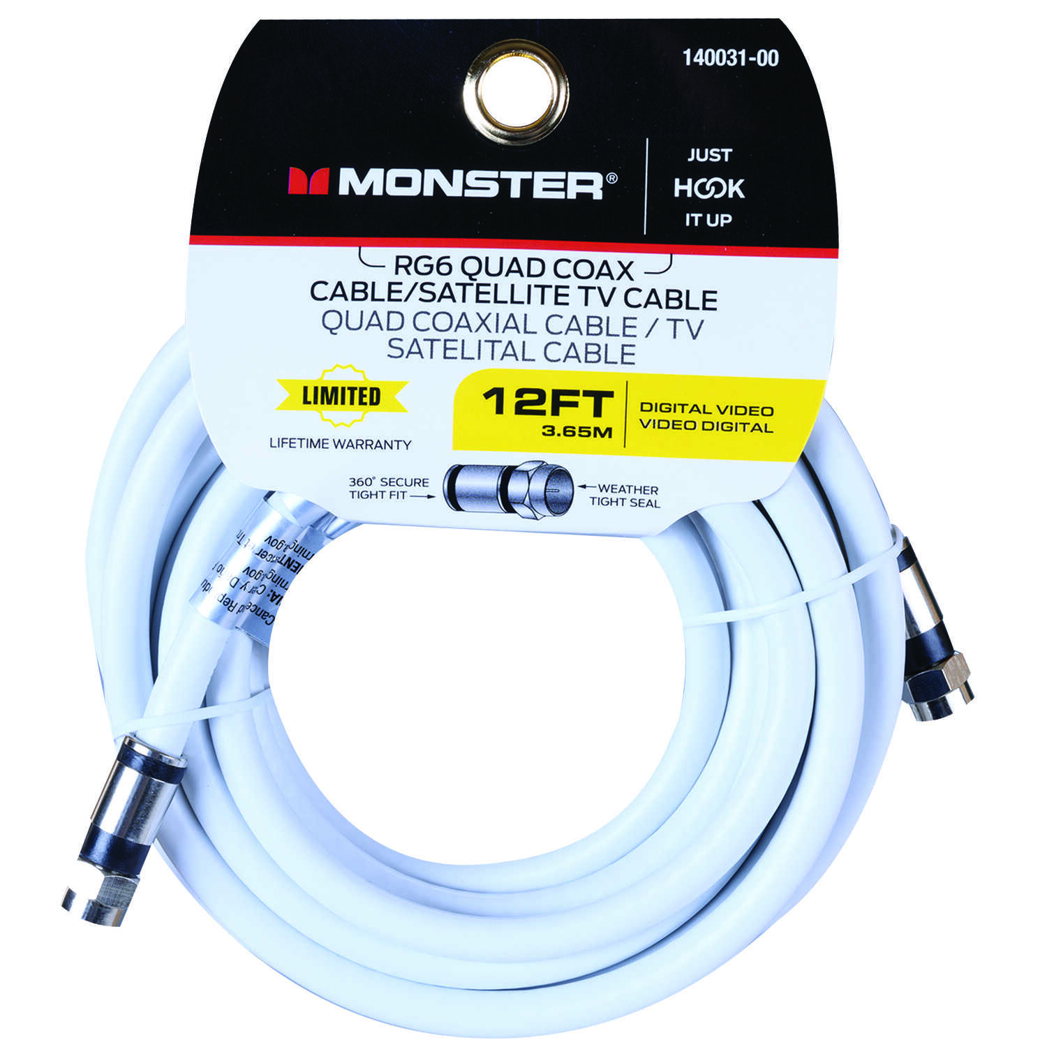 Monster Cable  Just Hook It Up  12 ft. Weatherproof Video Coaxial Cable
