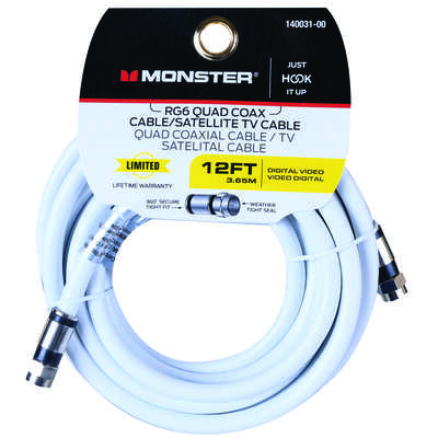 Monster  Just Hook It Up  12 ft. Weatherproof Video Coaxial Cable