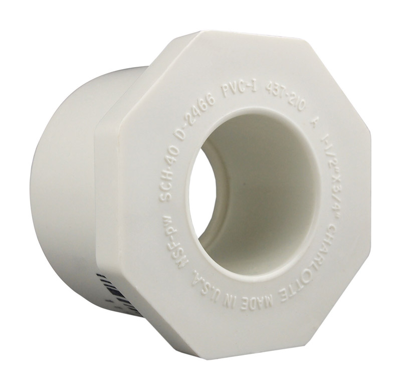 Charlotte Pipe  Schedule 40  2 in. Slip   x 3/4 in. Dia. Slip  PVC  Reducing Bushing