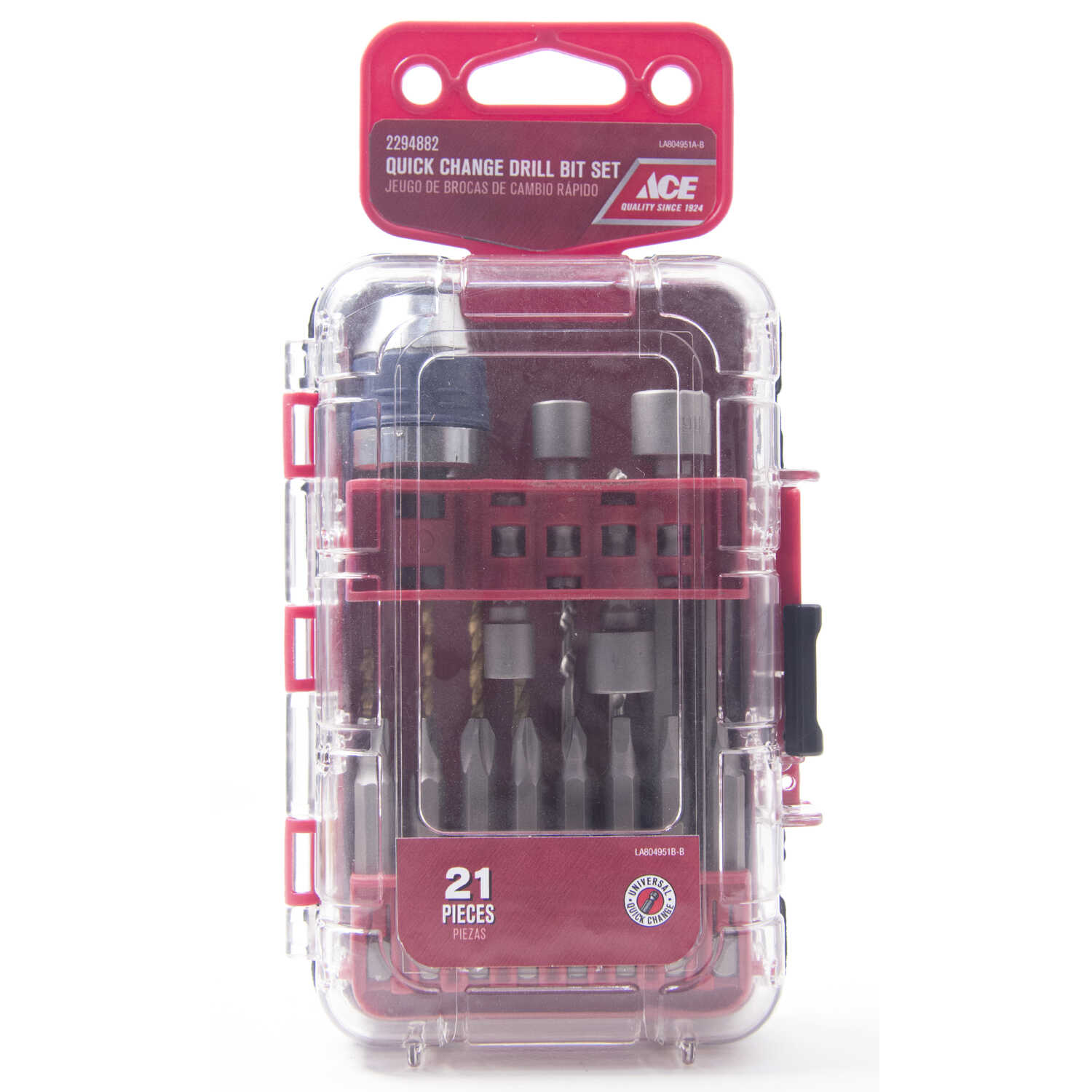 Ace  Assorted  Drill and Driver Bit Set  Multi-Material  1/4 in. Quick-Change Hex Shank  21 pc.