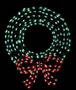 Celebrations  LED Wreath/Bow  Christmas Decoration  Red/Green  Metal  1 each