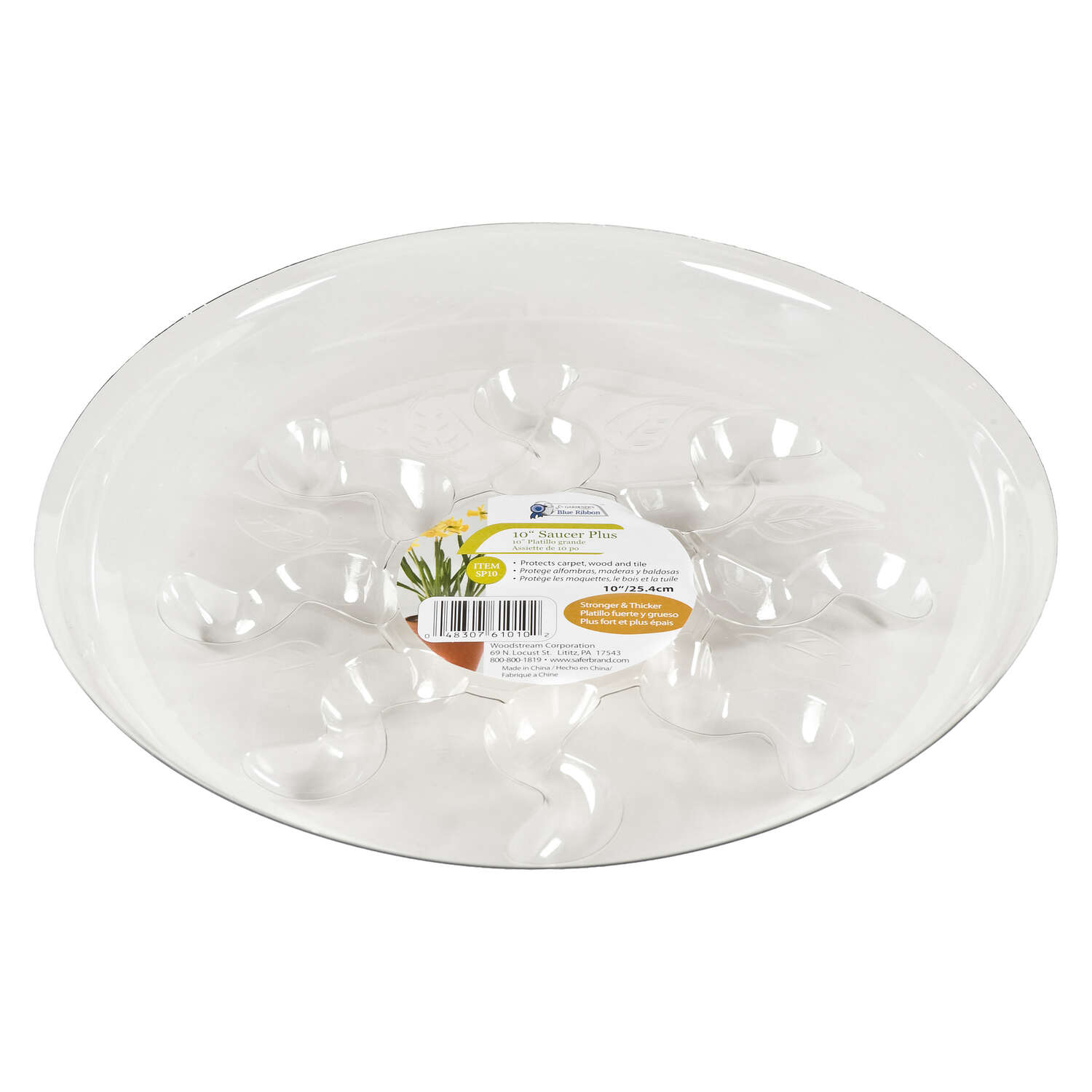Gardeners Blue Ribbon  10 in. W Clear  Plastic  Plant Saucer
