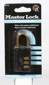 Master Lock  1-13/16 in. H x 9/16 in. W x 1-3/16 in. L Steel  3-Dial Combination  Padlock  1 each