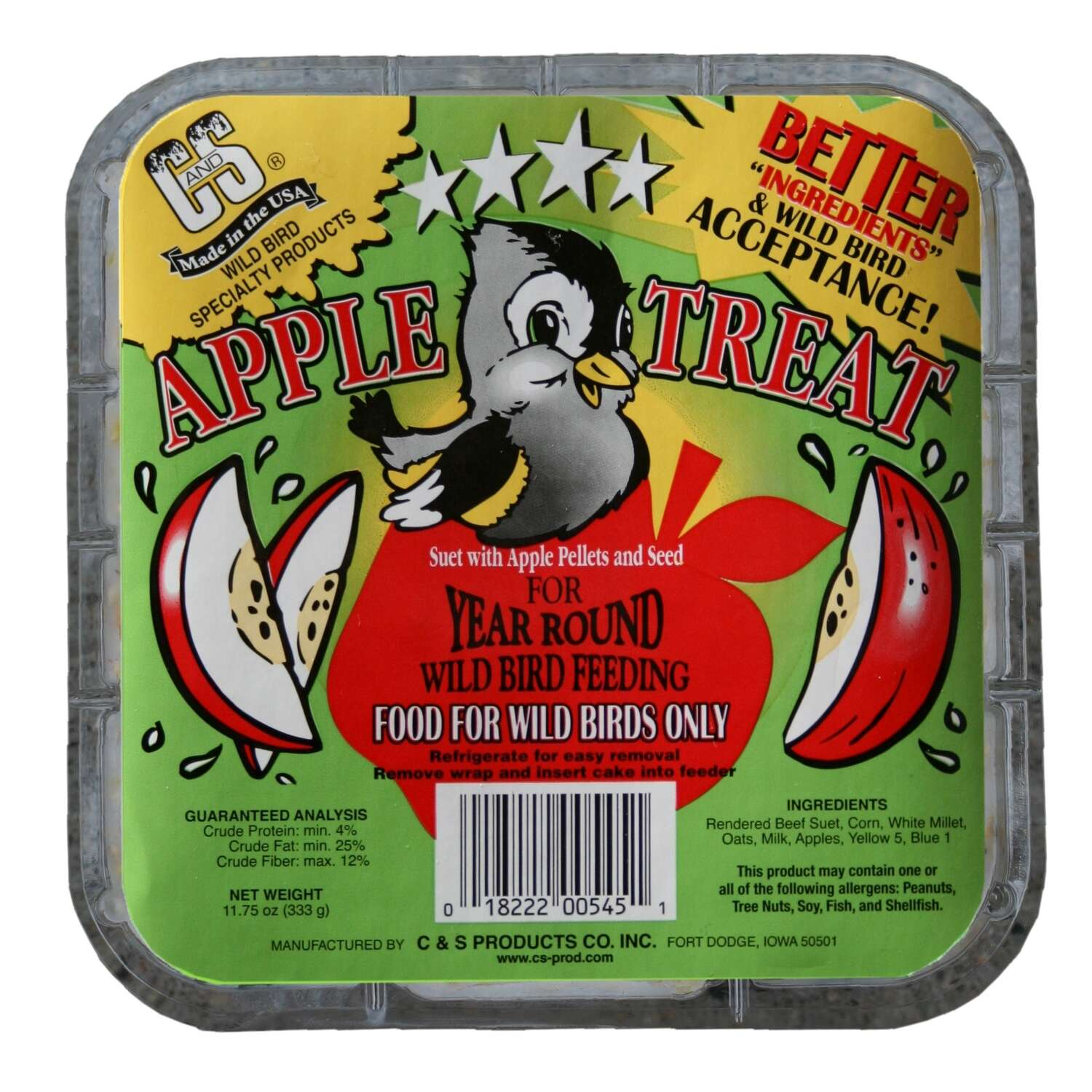 C&S Products  Apple Treat  Assorted Species  Suet  Beef Suet  11.75 oz.