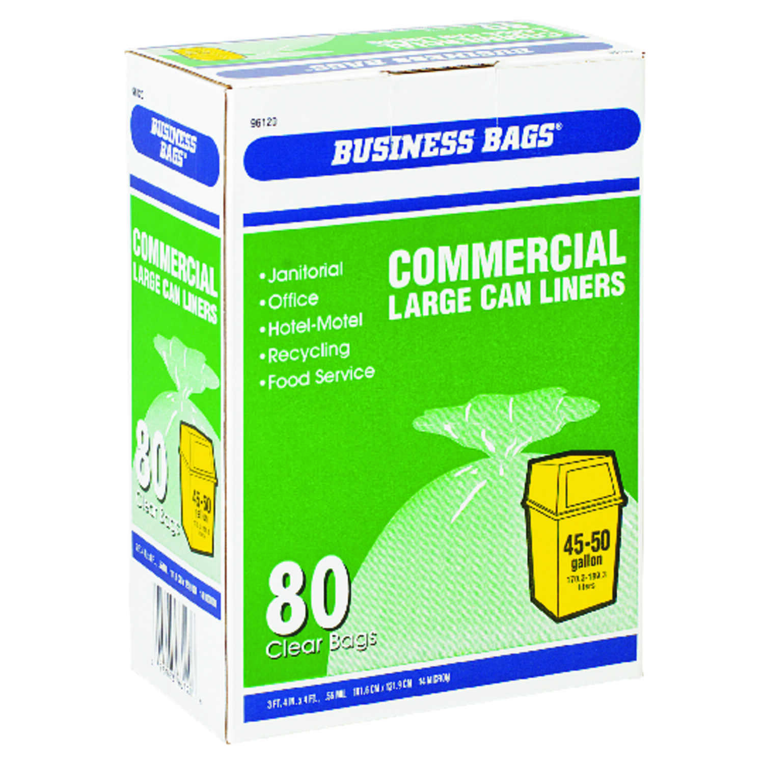 Business Bags  Commercial  45-50 gal. Commercial Drum/Can Liners  Twist Tie  80 pk