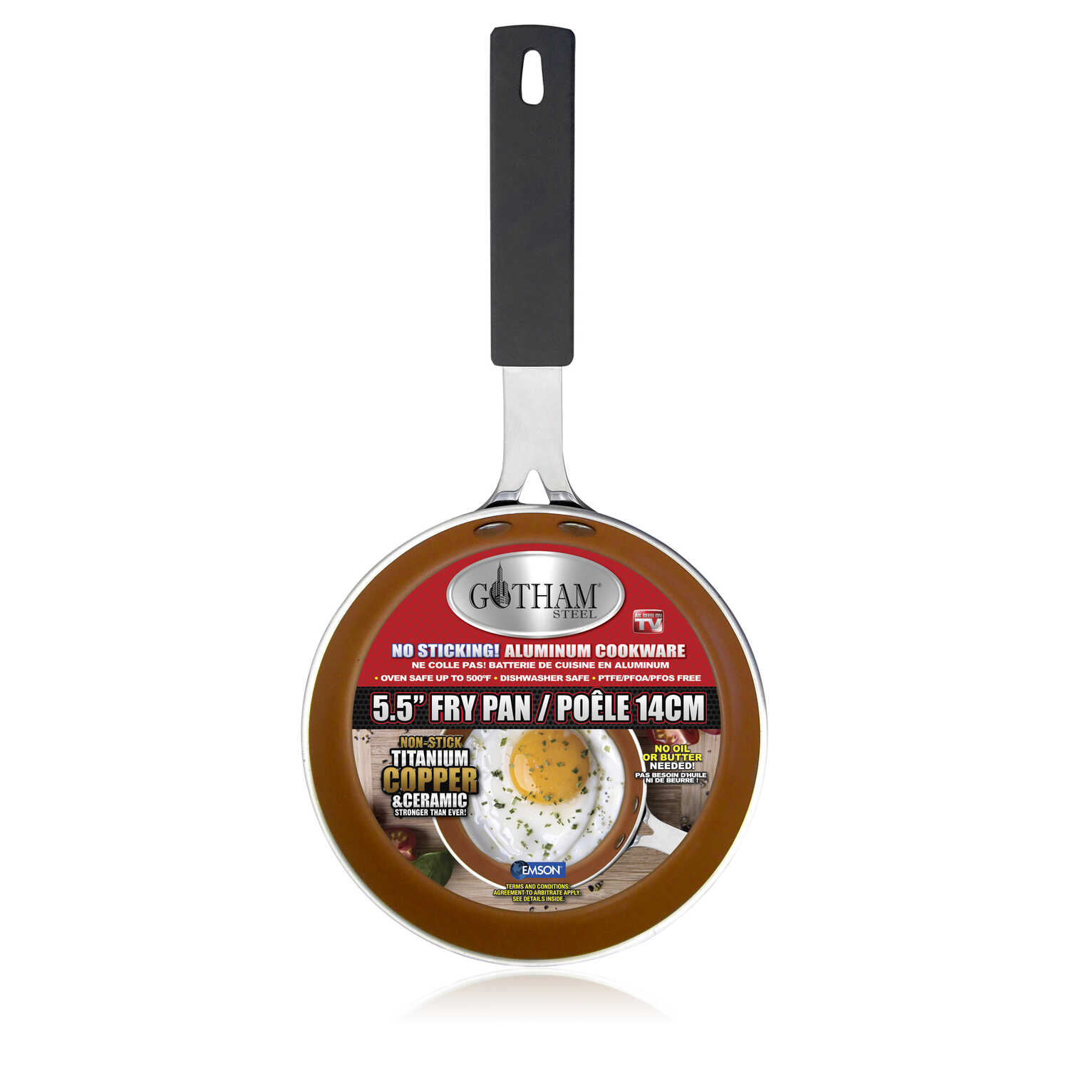 Gotham Steel  As Seen On TV  Aluminum  Fry Pan  5-1/2 in. Copper