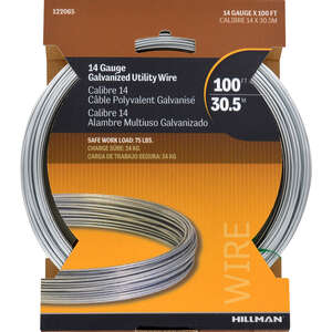 HILLMAN  100 ft. L x 0.078 - 0.082 in. Dia. Galvanized  Steel  14 Ga. Wire