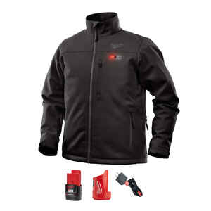 Milwaukee  M12 ToughShell  L  Long Sleeve  Unisex  Full-Zip  Heated Jacket Kit  Black