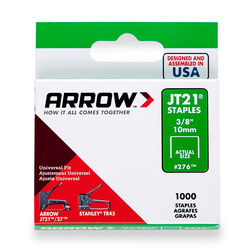 Arrow Fastener  JT21  7/16 in. W x 3/8 in. L 23 Ga. Wide Crown  Light Duty Staples  1000 pk