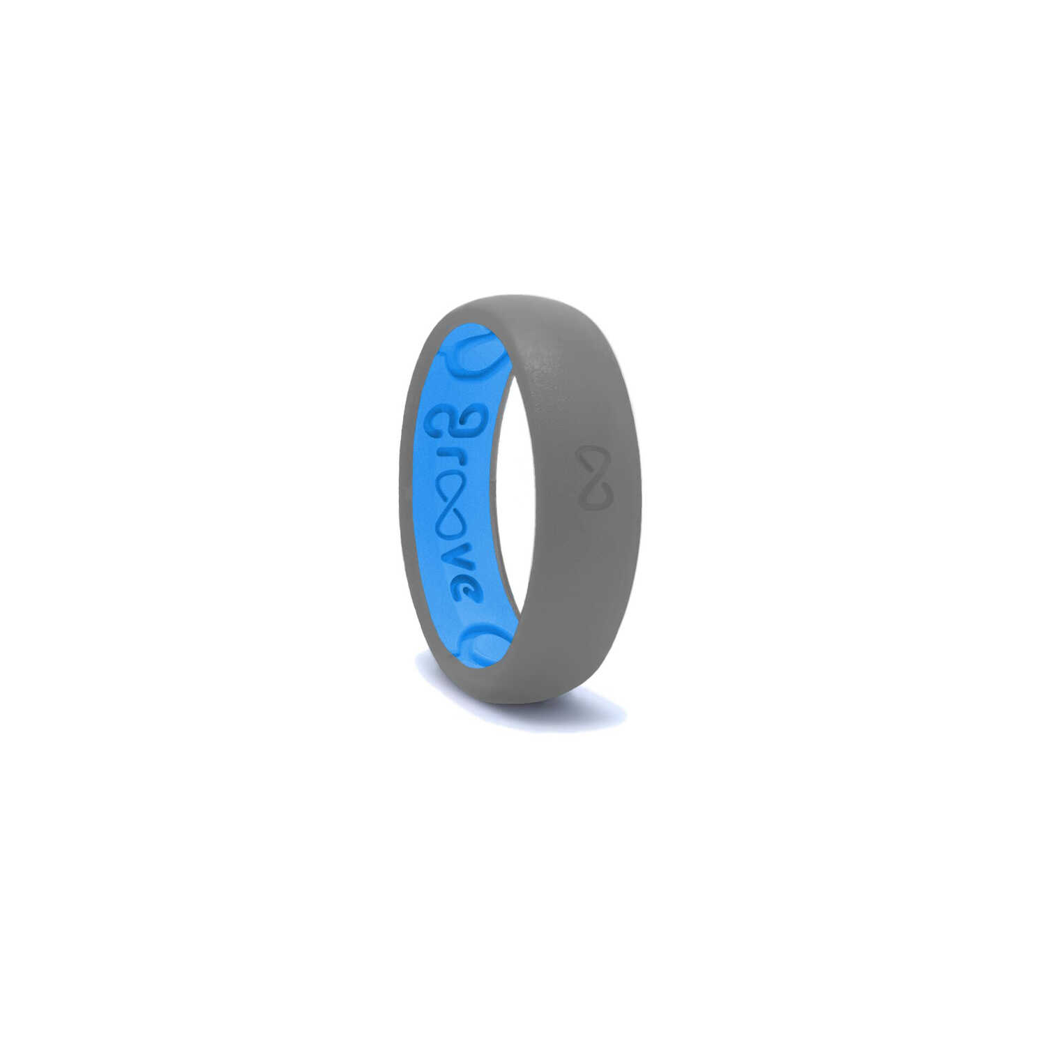 Groove Life  Unisex  Round  Storm Gray/Blue  Silicone  Water Resistant Wedding Band