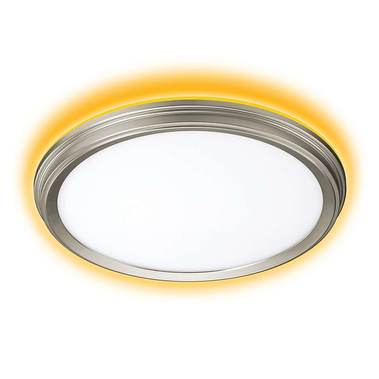 ETI  NIGHTLIGHTR  1.7 in. H x 11 in. W x 11 in. L Brushed Nickel  White  LED Ceiling Light Fixture w