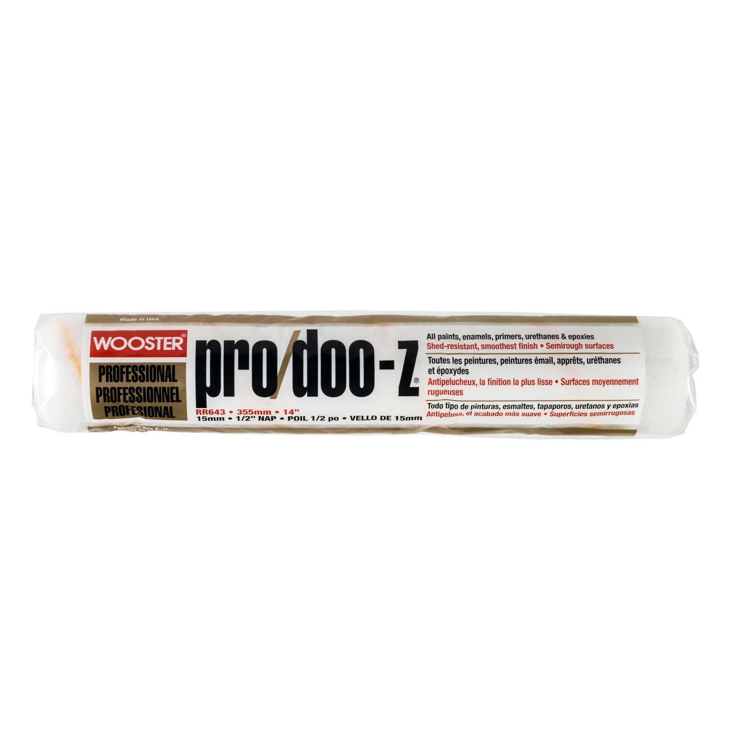Wooster  Pro/Doo-Z  Synthetic Blend  1/2 in.  x 14 in. W Regular  Paint Roller Cover  For Semi-Rough