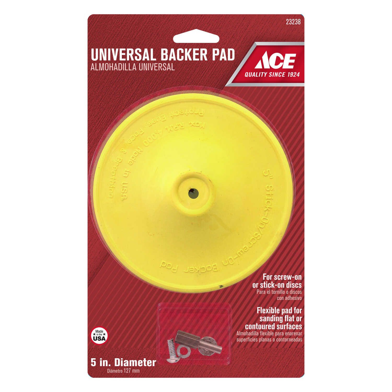 Ace  5 in. Dia. x 1/4 in.   Plastic  Backing Pad  3000 rpm 1 pk