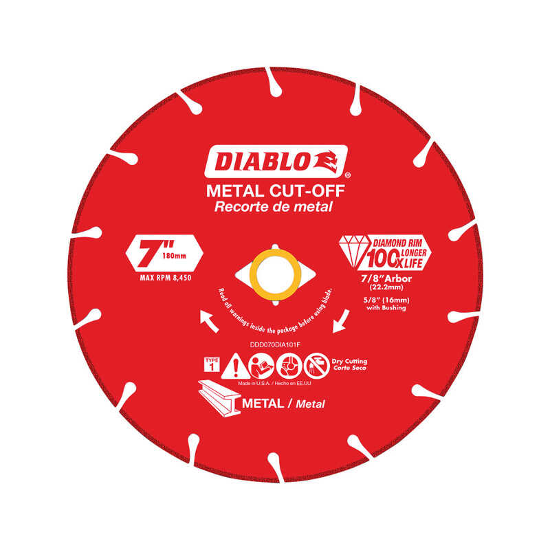Diablo  7 in. Diamond  Metal Cut-Off Wheel  0.065 in.  x 7/8 in.  1 pk