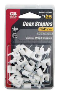 GB  1/4 in. W Plastic  Insulated Coaxial Staple  25