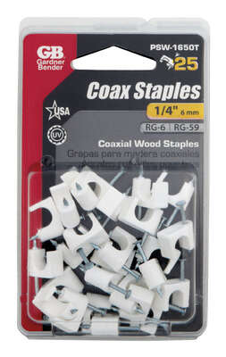 Gardner Bender  1/4 in. W Plastic  Insulated Coaxial Staple  25 pk