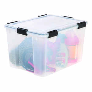 Iris  WEATHERTIGHT  14.5 in. H x 17.75 in. W x 23.6 in. D Stackable Storage Tote