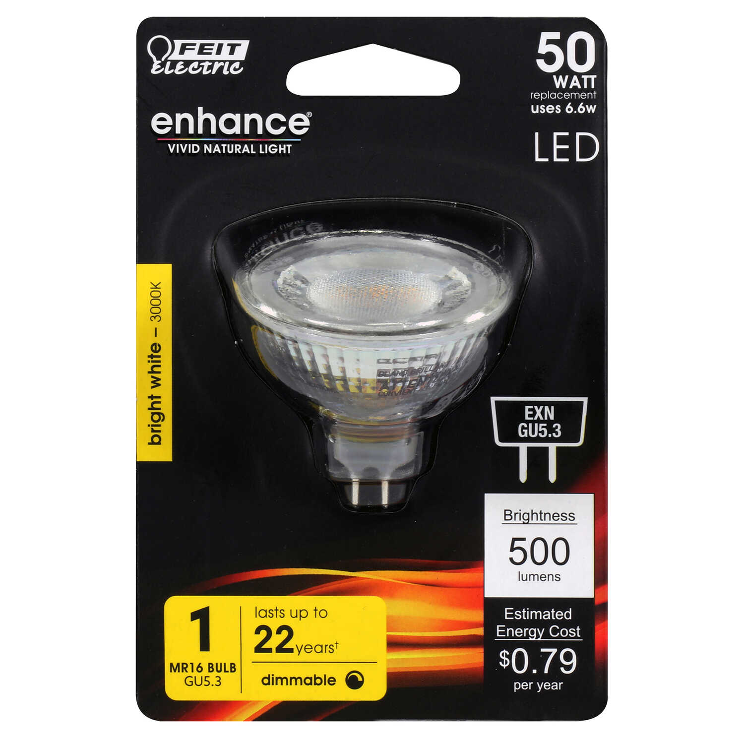 FEIT Electric  6.6 watts MR16  LED Bulb  500 lumens Bright White  Reflector  50 Watt Equivalence