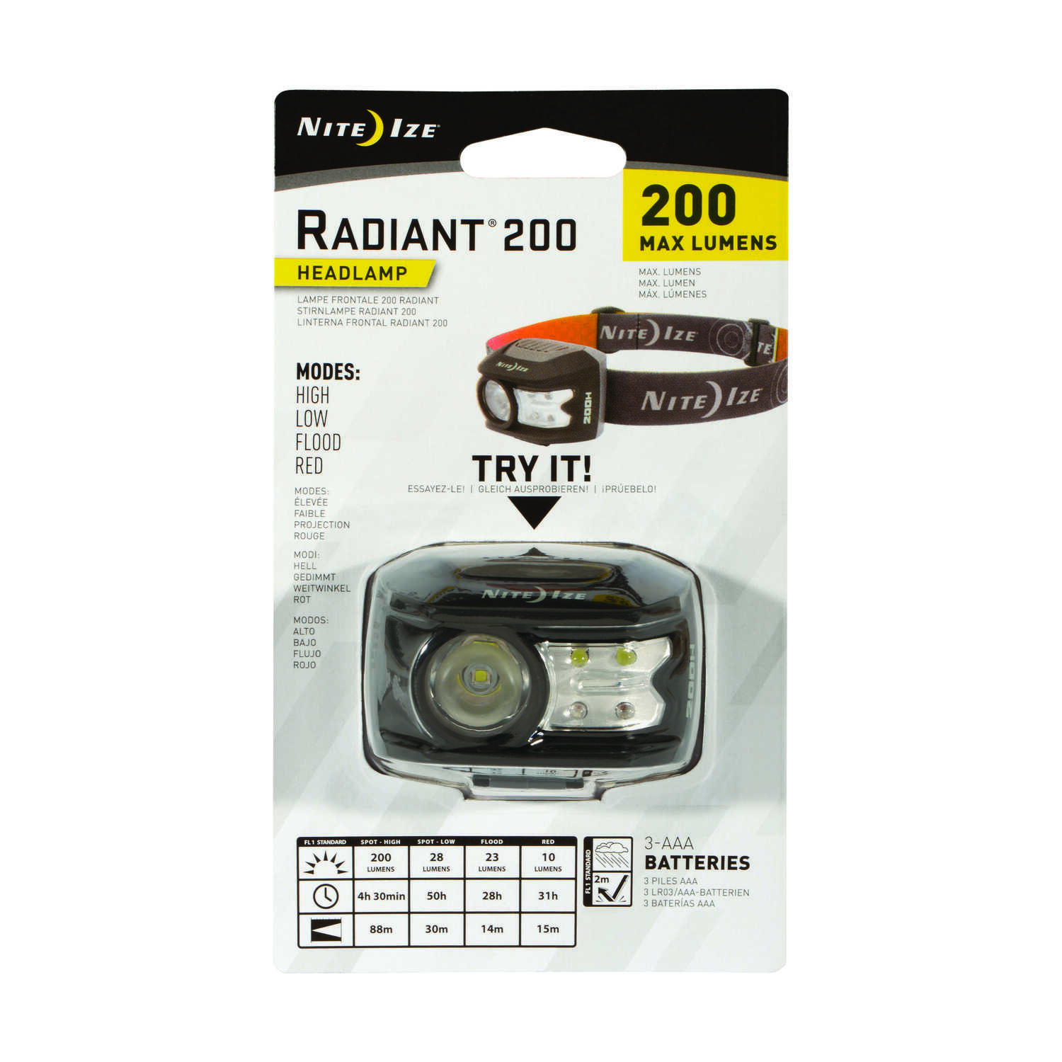 Nite Ize  Radiant  200 lumens Black/Gray  LED  Head Lamp  AAA