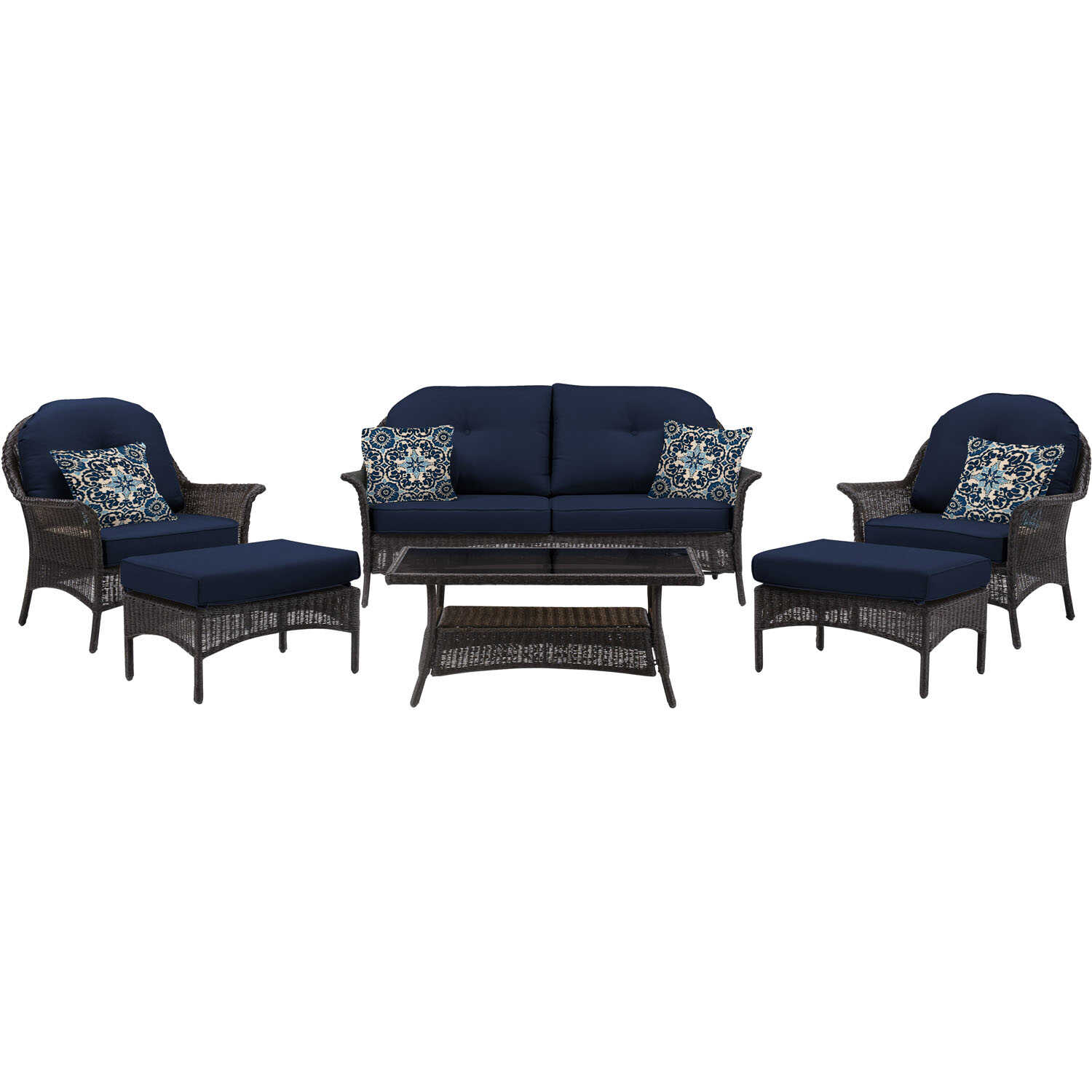 Hanover  San Marino  6 pc. Java  Steel  Patio Set  Navy Blue