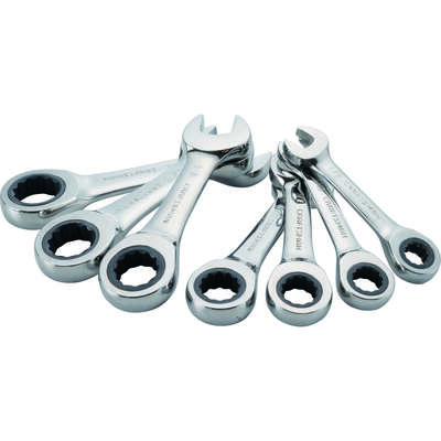 Craftsman  SAE  Stubby  Ratcheting Combination Wrench Set  7 pc.