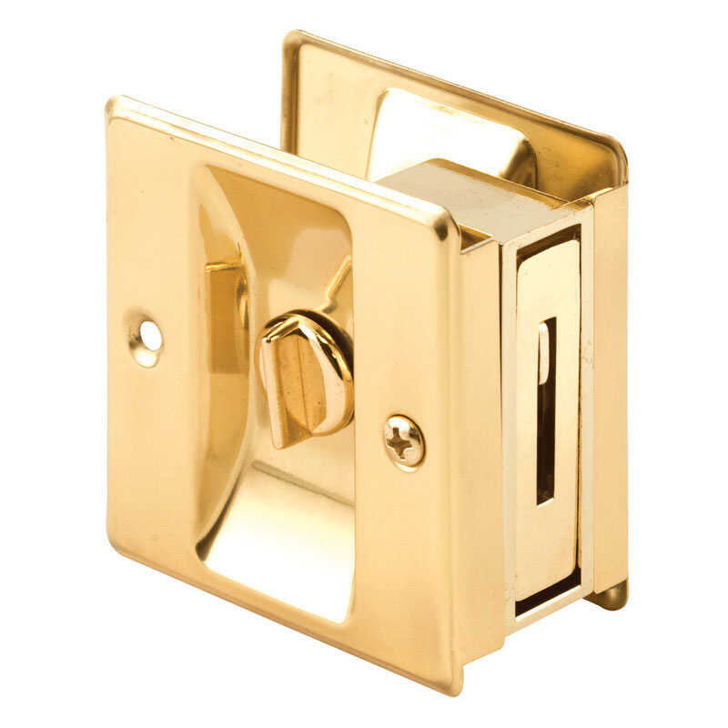 Prime-Line  Polished  Gold  Solid Brass  Pocket Door Privacy Lock  1 pk
