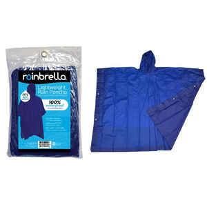 Rainbrella  Blue  Rain Poncho  One Size Fits All  PVC