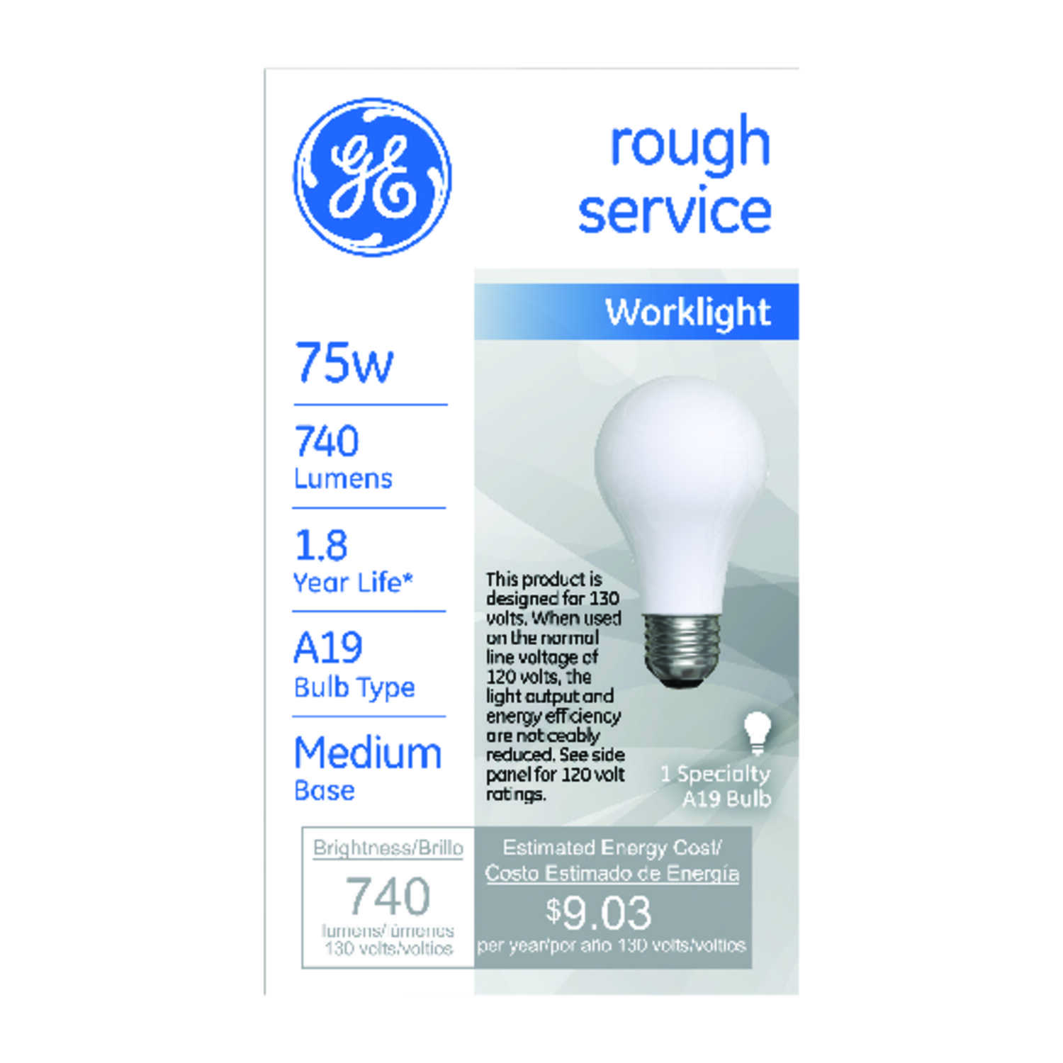 GE Lighting  rough service  75 watts A19  Incandescent Light Bulb  740 lumens Soft White  Specialty