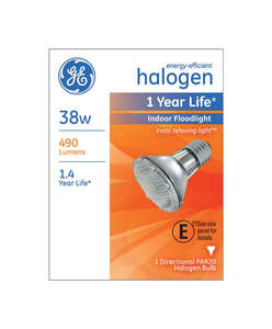 GE Lighting  38 watts PAR20  Halogen Bulb  490 lumens Floodlight  1 pk White