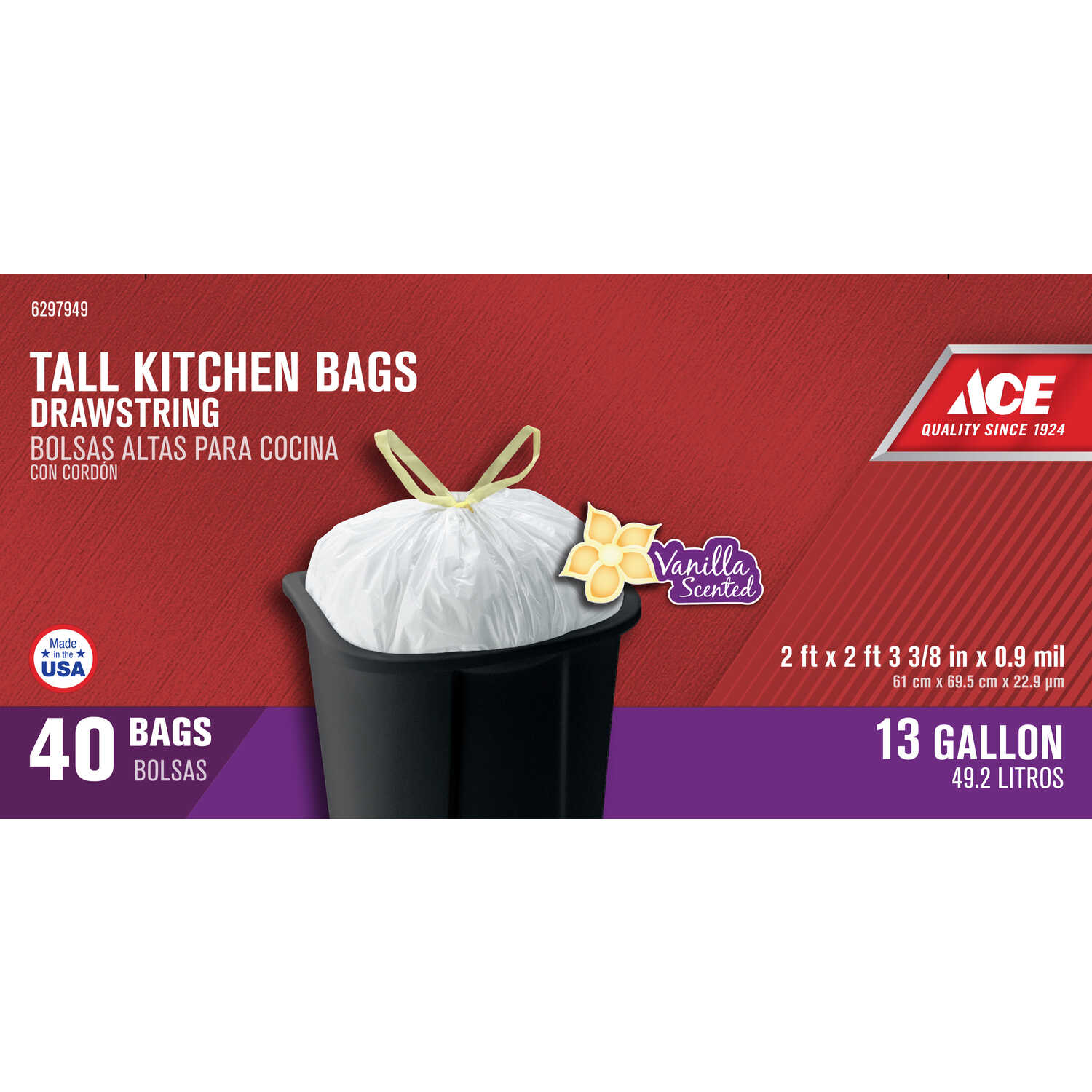 Ace  13 gal. Tall Kitchen Bags  Drawstring  40 pk
