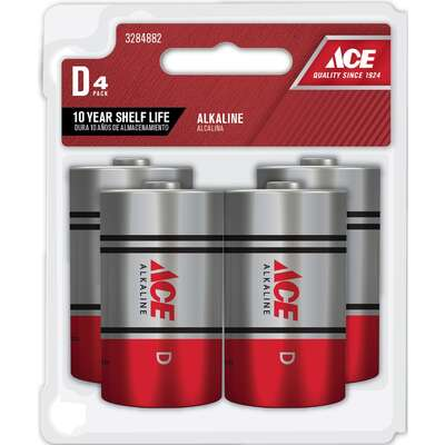 Ace D Alkaline Batteries 4 pk Carded