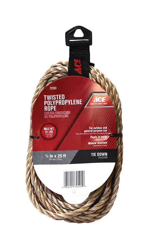 Ace  25 ft. L x 1/4 in. Dia. Brown  Poly  Twisted  Rope