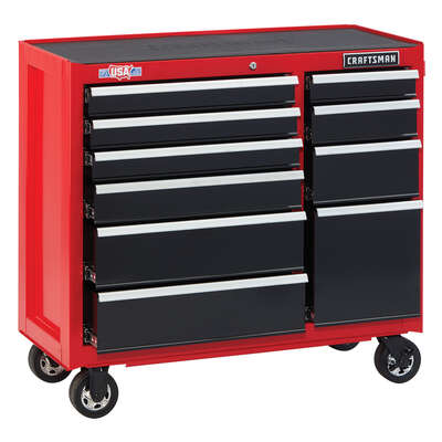 Craftsman 2000 Series 41 in. 10 drawer Steel Rolling Tool Cabinet 37.5 in. H x 18 in. D