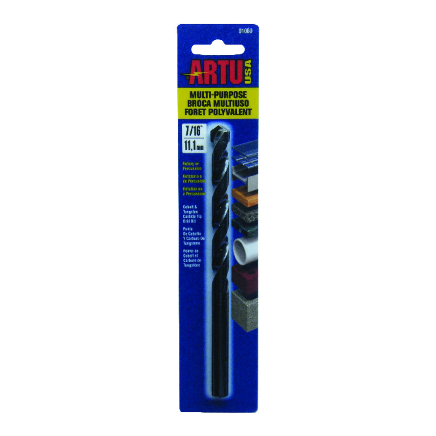 ARTU  7/16 in. Dia. x 6-1/8 in. L General Purpose Drill Bit  3/8 in. Round Shank  1 pc. Tungsten Car