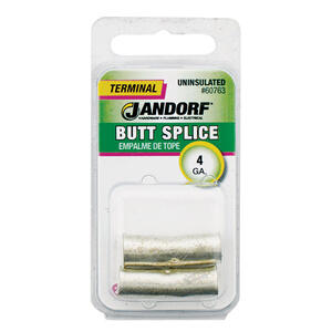 Jandorf  4 Ga. Uninsulated Wire  Terminal Butt Splice  Silver  2 pk
