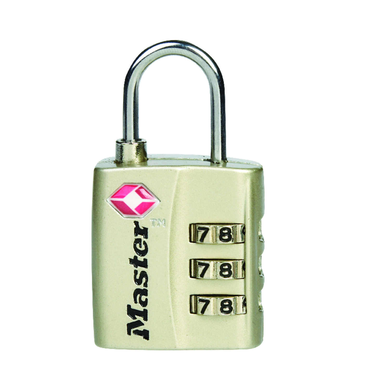 Master Lock  1-5/16 in. H x 3/8 in. W x 1-3/16 in. L Metal  3-Dial Combination  Luggage Lock  1 each