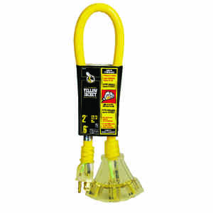 Yellow Jacket  Outdoor  2 ft. L Yellow  Triple Outlet Cord  12/3 SJTW