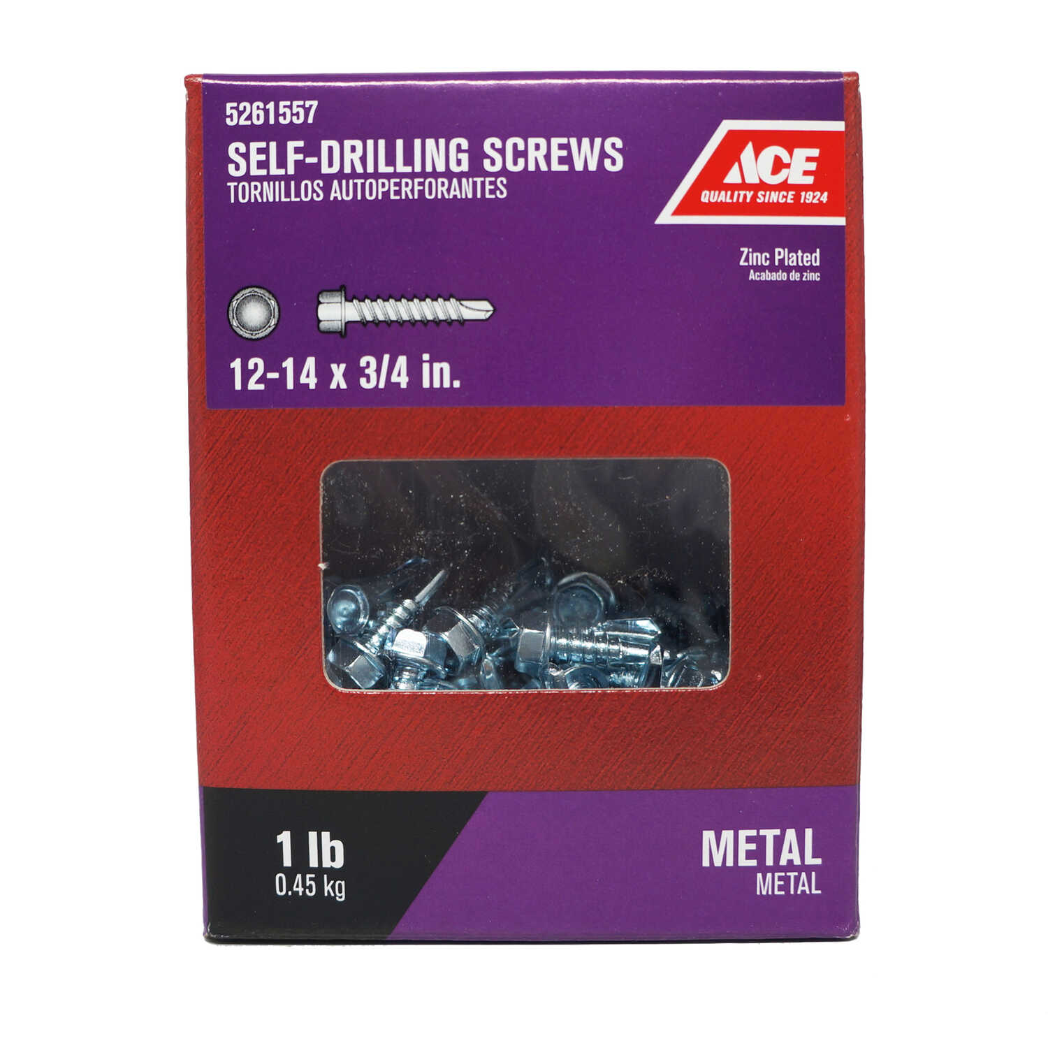 Ace  3/4 in. L x 12-14 Sizes  Zinc-Plated  Hex Washer Head Self- Drilling Screws  1 lb. Steel