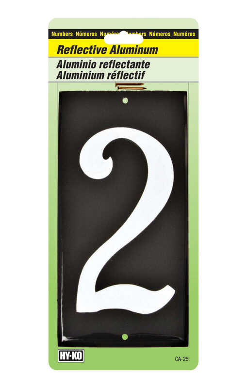 Hy-Ko  3-1/2 in. Reflective White  Aluminum  Number  2  Nail-On  1 pc.