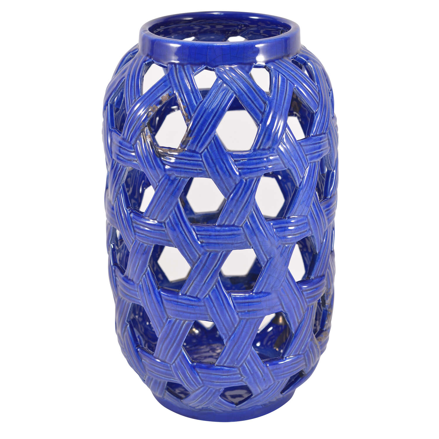 Mark Feldstein  11.36 in. H Ceramic Lantern Candle Holder  Cobalt Blue/White