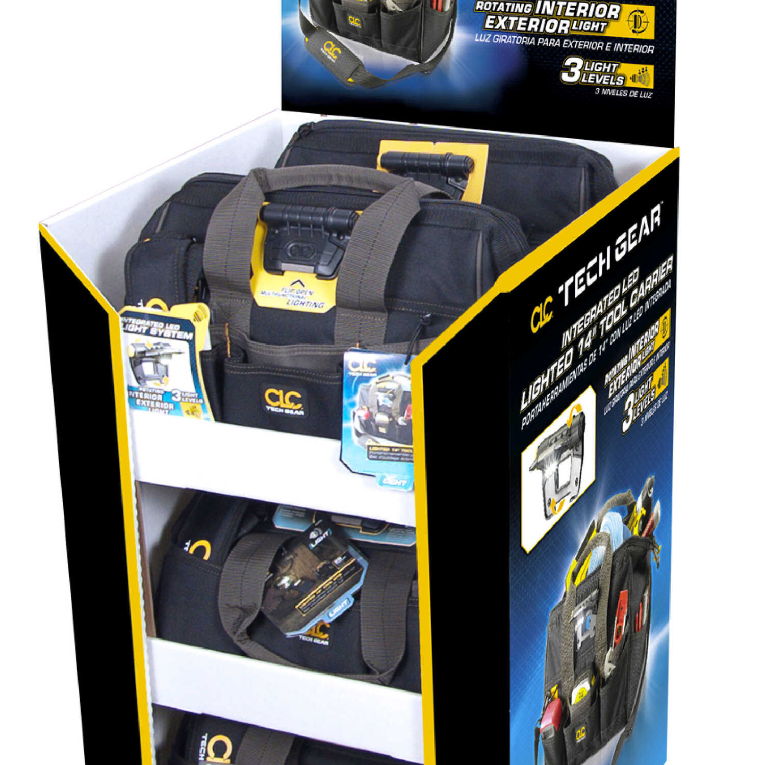 CLC  5.5 in. W x 13.25 in. H Polyester  Lighted Tool Bag  29 pocket Black  1 pc.