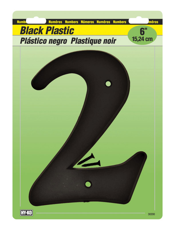 Hy-Ko  6 in. Black  Number  Mounting Screws  2  Plastic