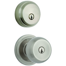 Brinks  Push Pull Rotate  Stafford  Satin Nickel  Entry Knob and Single Cylinder Deadbolt  ANSI Grad