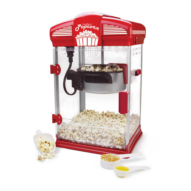 West Bend  Gloss  Red  4 qt. Oil  Theater Style Popcorn Machine