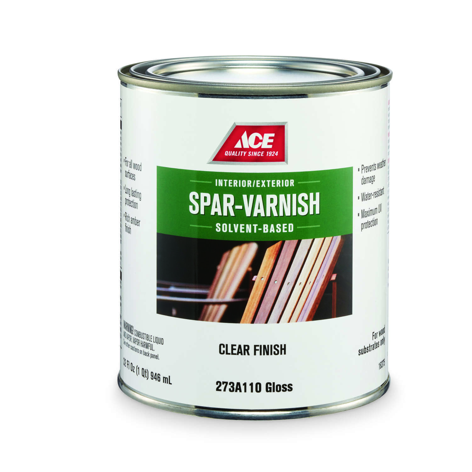 Ace  Gloss  Rich Amber  Solvent-Based  Spar Varnish  1 qt.