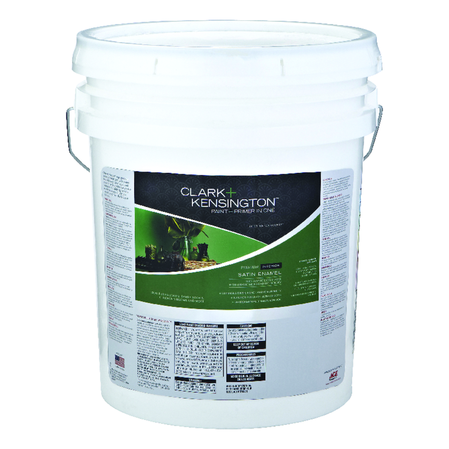 Clark+Kensington  Ultra White  Ultra White Base  Acylic Latex  Paint and Primer  5 gal. Satin